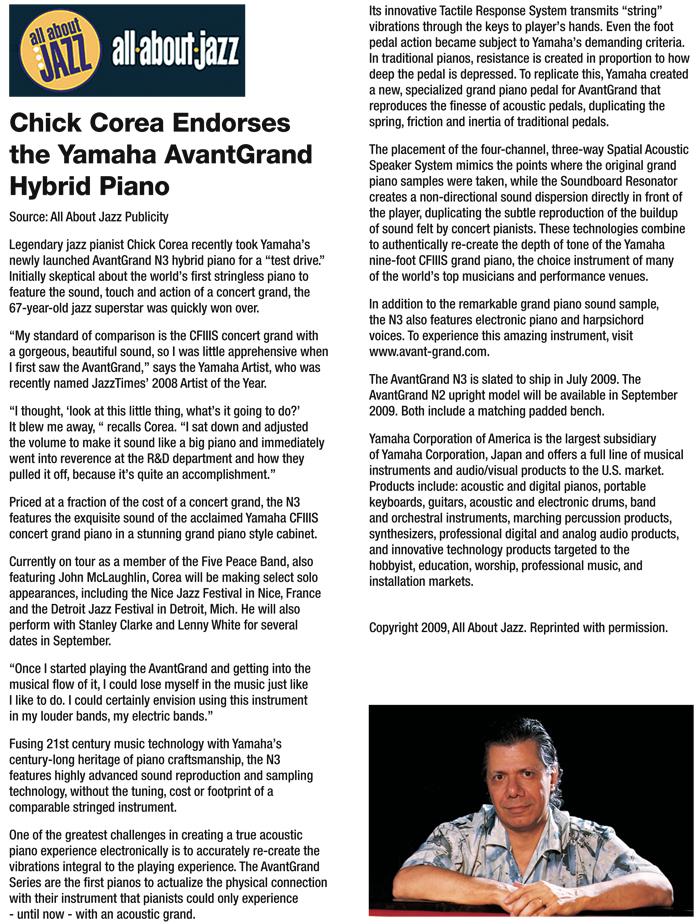 Chick corea endorses the yamaha avantgrand hybrid piano classic chick corea endorses the yamaha avantgrand hybrid piano classic pianos of portland oregon solutioingenieria Image collections